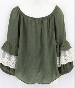 Girls Olive Boho Top with Ruffle Lace Sleeve