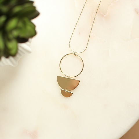 Three Tiered Geometric Pendant Necklace