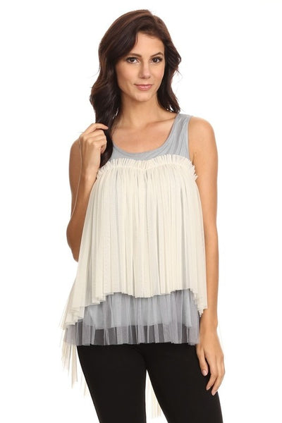 Ice Blue and Ivory Pleated Tank + Plus +