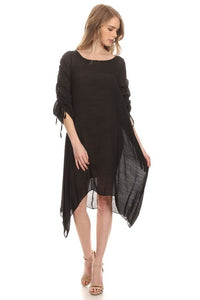 Drawstring Sleeve Dress + Plus +