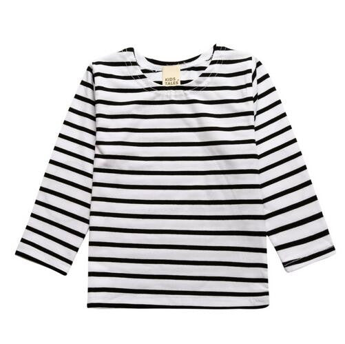 Toddler Long Sleeve Black and White Stripe Shirt