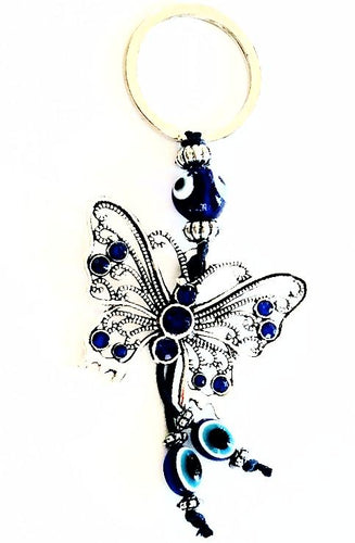 Butterfly / Evil Eye Glass Keychain