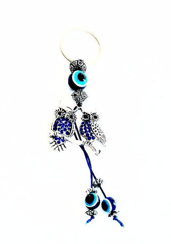 Owls of Wisdom / Evil Eye Rhinestone Keychain