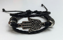 Triple Strand Leather Bracelet with Hamsa