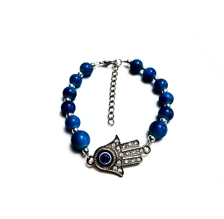Beaded rhinestone hamsa evil eye chain bracelet