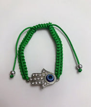 Green String Hamsa Evil Eye Adjustable Bracelet