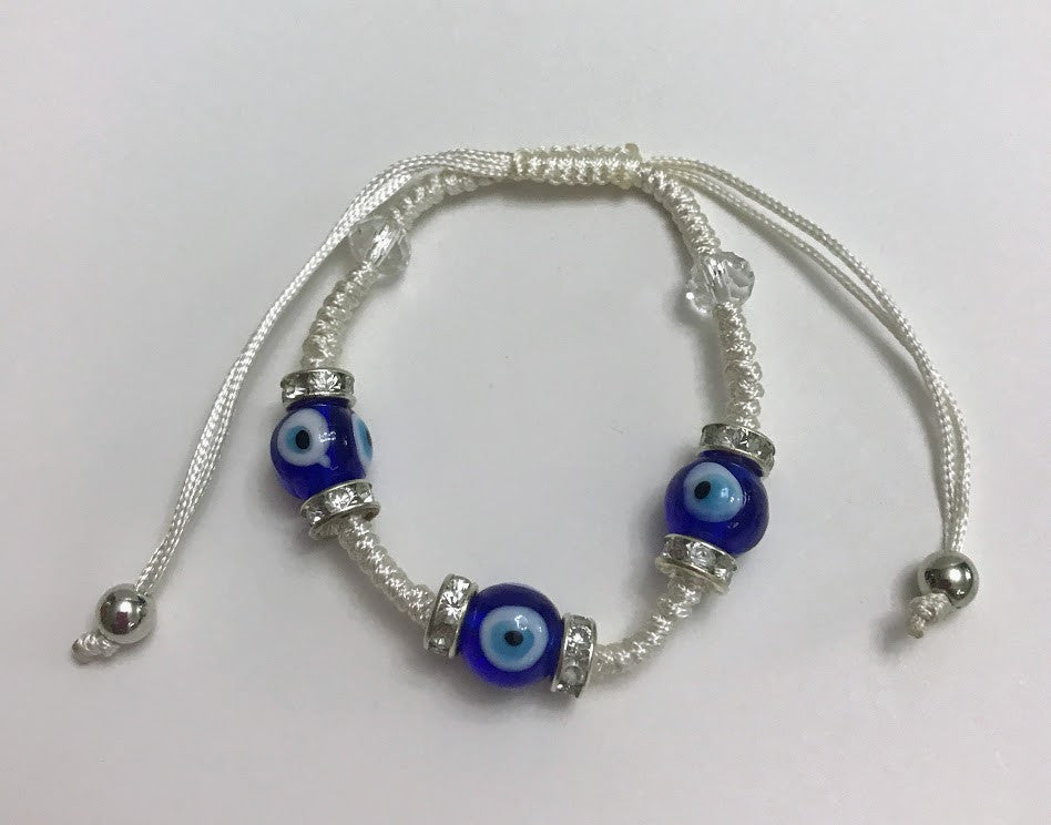 White String Blue Glass Evil Eye Adjustable Bracelet