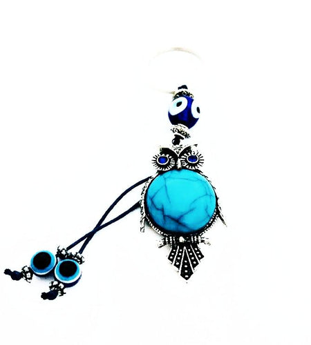 Evil Eye / Wisdom Owl Turquoise Keychain w/ Glass Eye Beads.