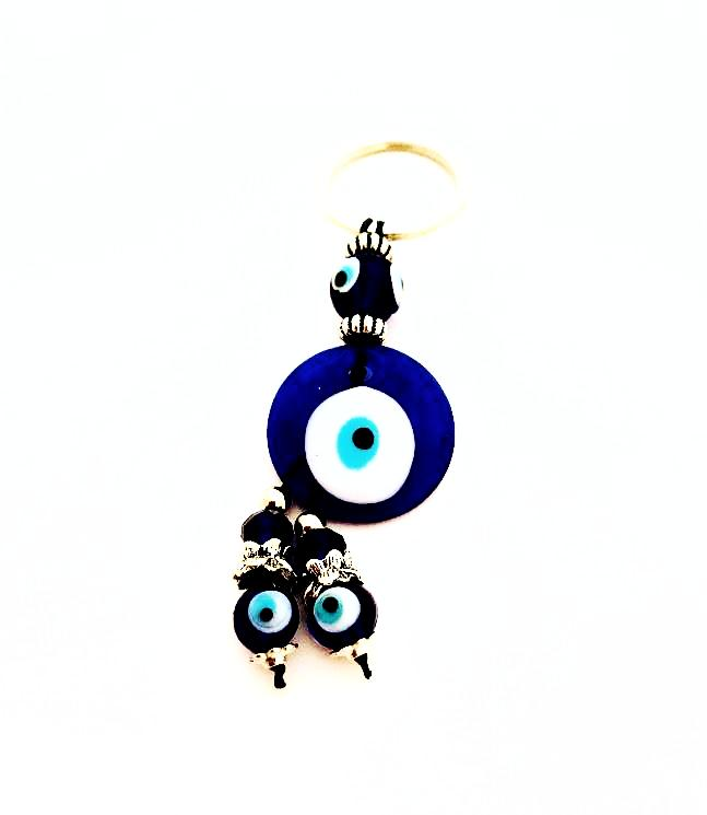 Glass Evil Eye Keychain W/Dangle Evil Eye Beads.