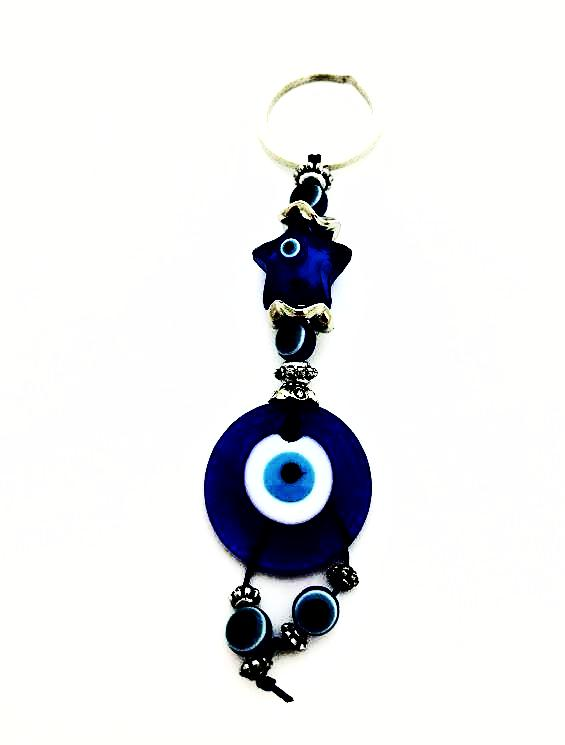 Blue Glass Evil Eye/Star Keychain W/Dangle Evil Eye Beads