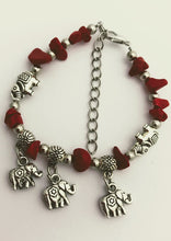 Red Chip Stone Bracelet With 3 Lucky Charm Elephants