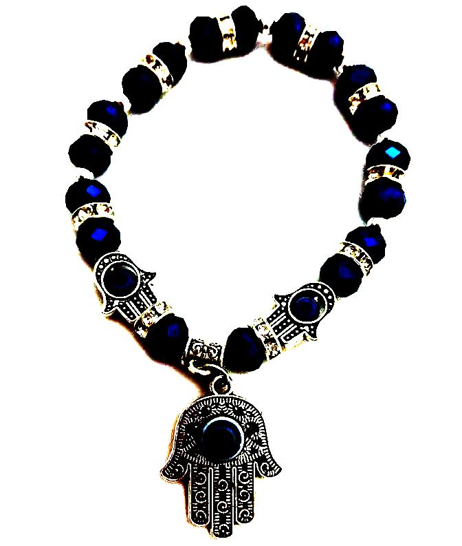 Blue Beaded Stretch Hamsa Bracelet