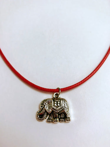Red Cord Lucky Elephant Necklace With 2