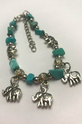 Turquoise Chip Stone Bracelet With Good Luck Charm Elephants