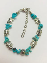 Turquoise Chip Stone Bracelet With Lucky Charm Elephants