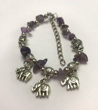 Amethyst Chip Stone Bracelet With Lucky Charm Elephants