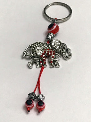 Good Luck Mom and Baby Elephant / Evil Eye Keychain With Rhinestones