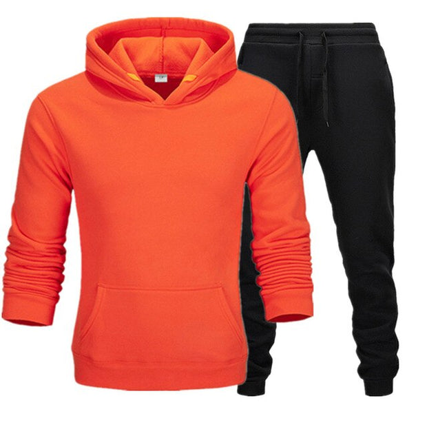 Solid color men's / women's pure cotton Hoodie casual sports coat Hoodie and trousers spring and autumn Pullover