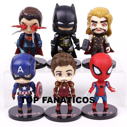 Kit com 6 peças  Superman, Batman, Iron Man, Spiderman, Thor e Captain America - Top Fanaticos