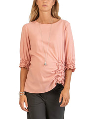 3/4 Sleeve Maternity Blouse with Ruffles - Pink - Mums and Bumps