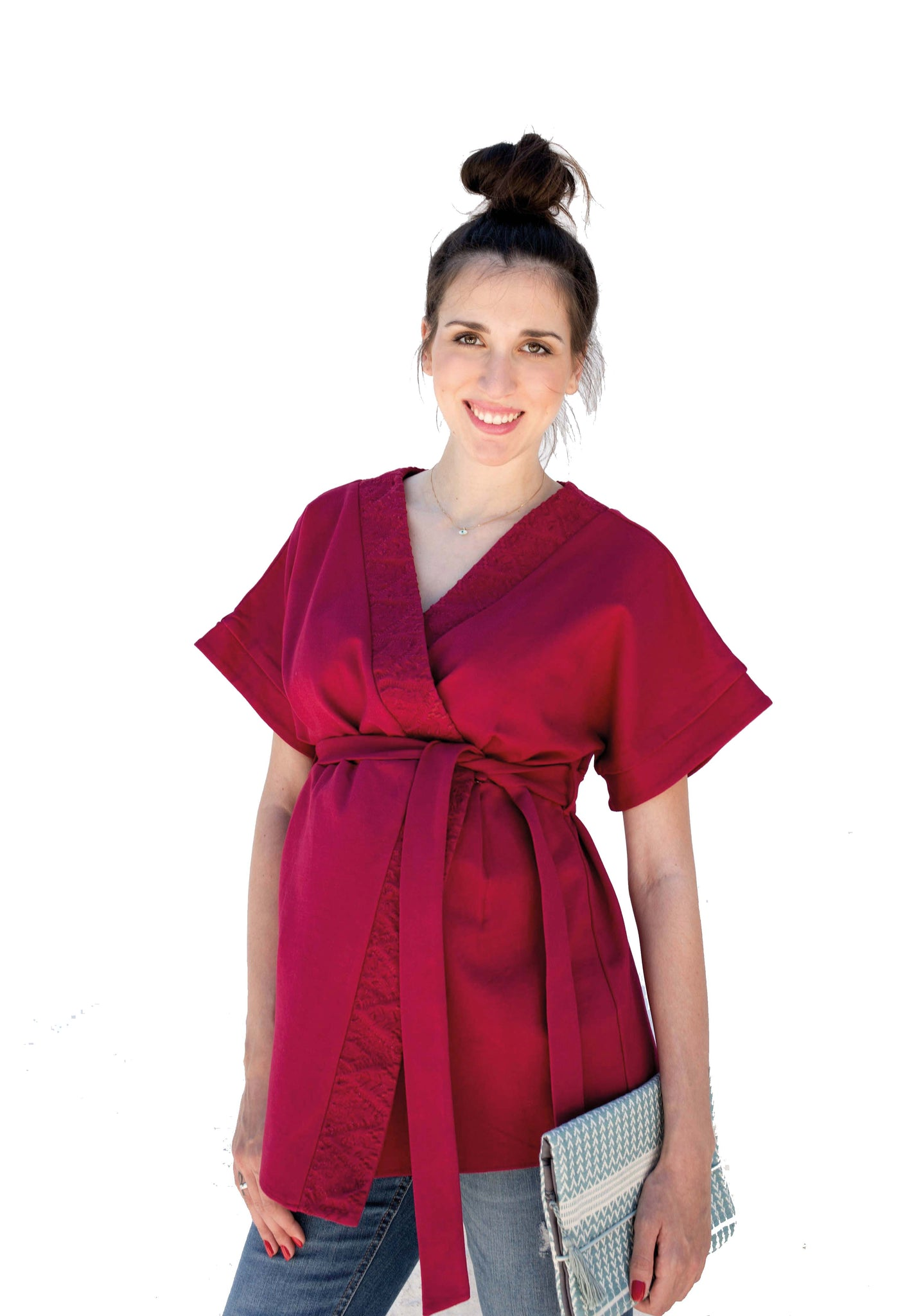 Maternity & Nursing Embroidered Blouse - Kimono Sleeves
