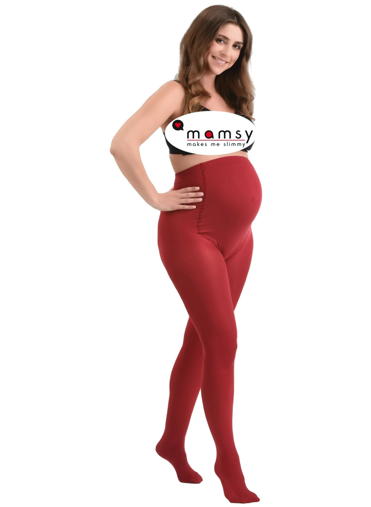 60Den Maternity Tights - Red - Mums and Bumps