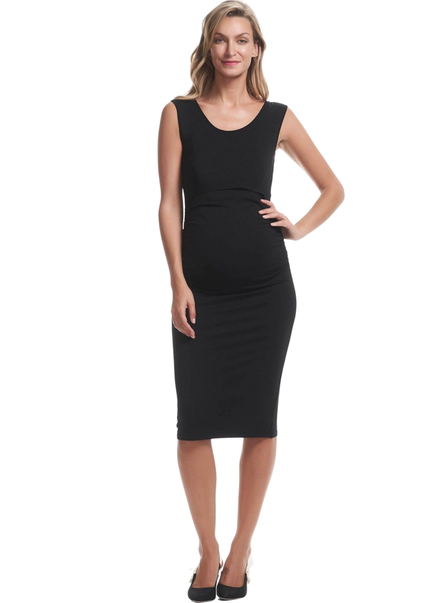 Celina Maternity & Nursing Tank Dress - Black
