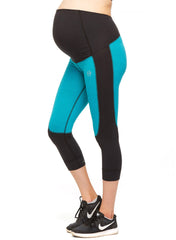 Flex Maternity Legging - 3/4 High Waist - Teal/Black