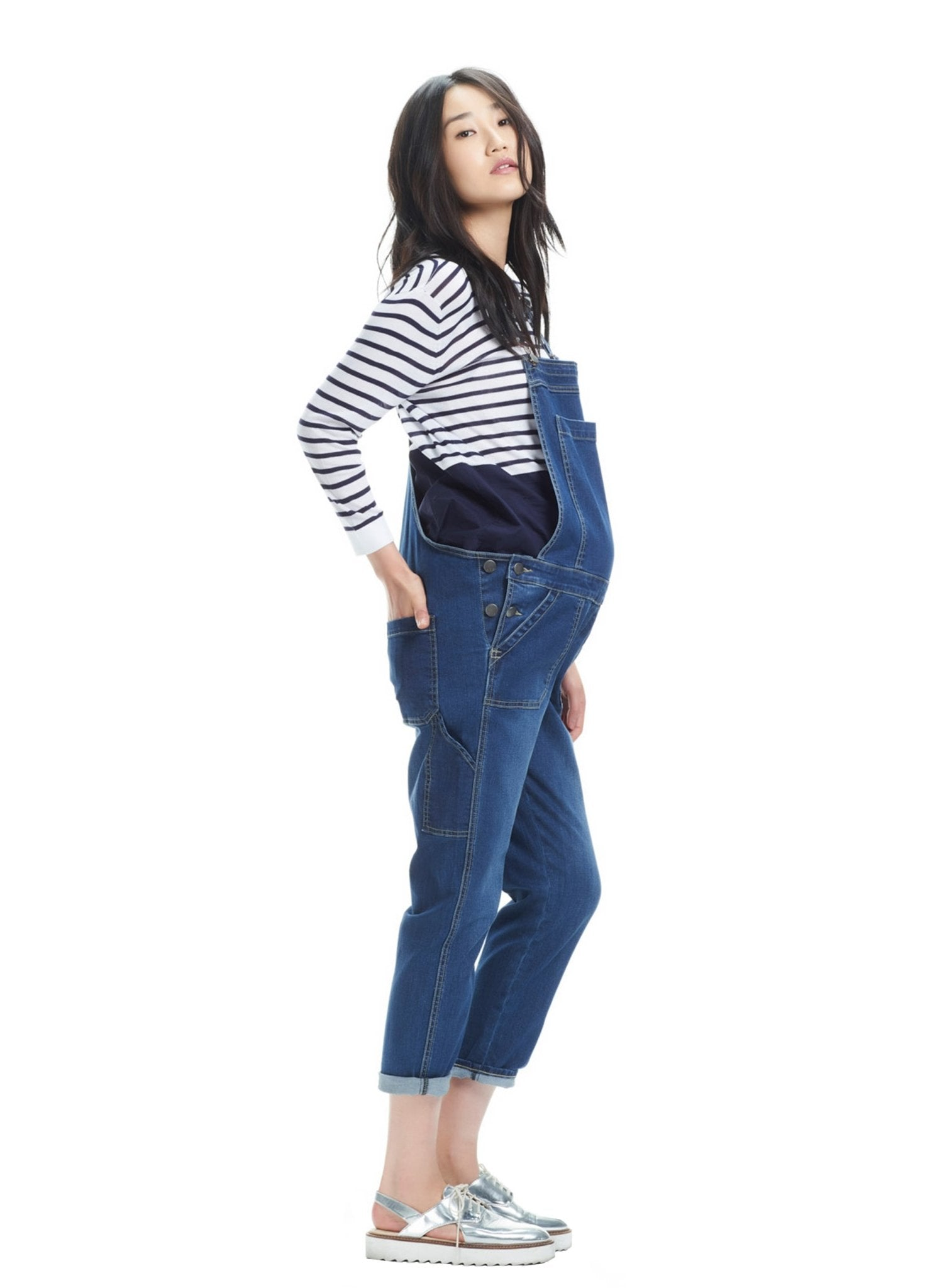Alice Denim Maternity Overall - Mums and Bumps