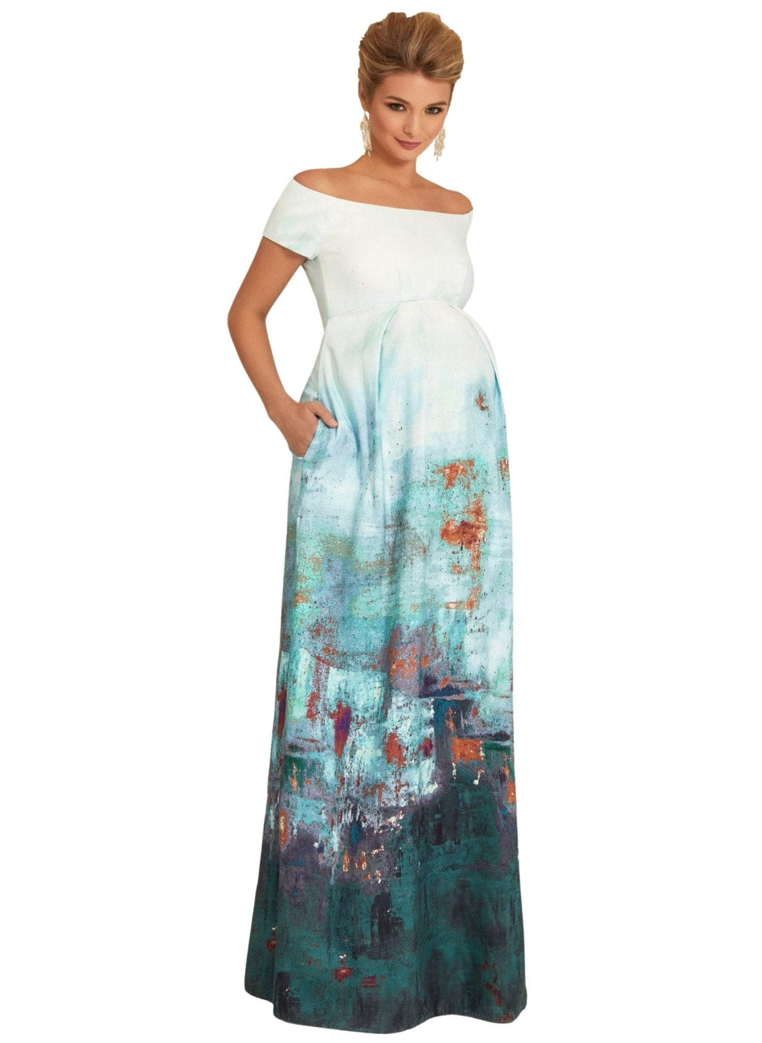 Aria Maternity Gown - Aquatic Ombre - Mums and Bumps