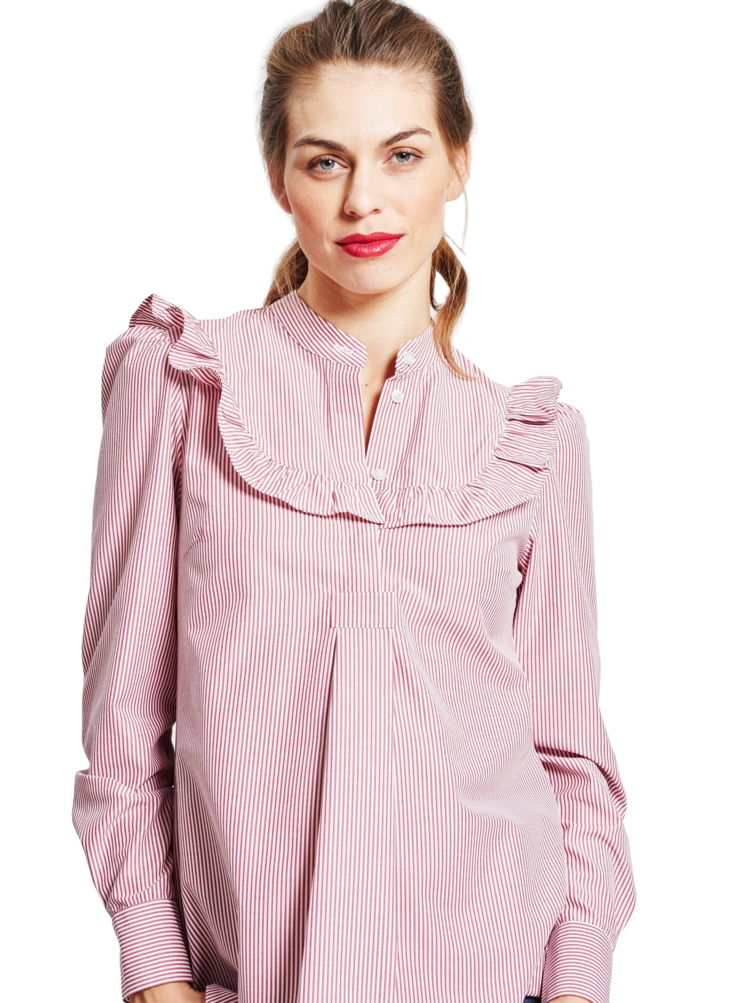 Aria Ruffle Maternity Blouse - Red & White Pinstripe - Mums and Bumps