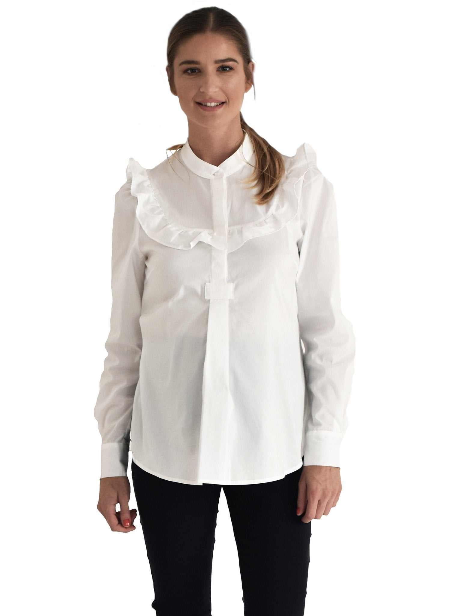 Aria Ruffle Maternity Blouse - White - Mums and Bumps