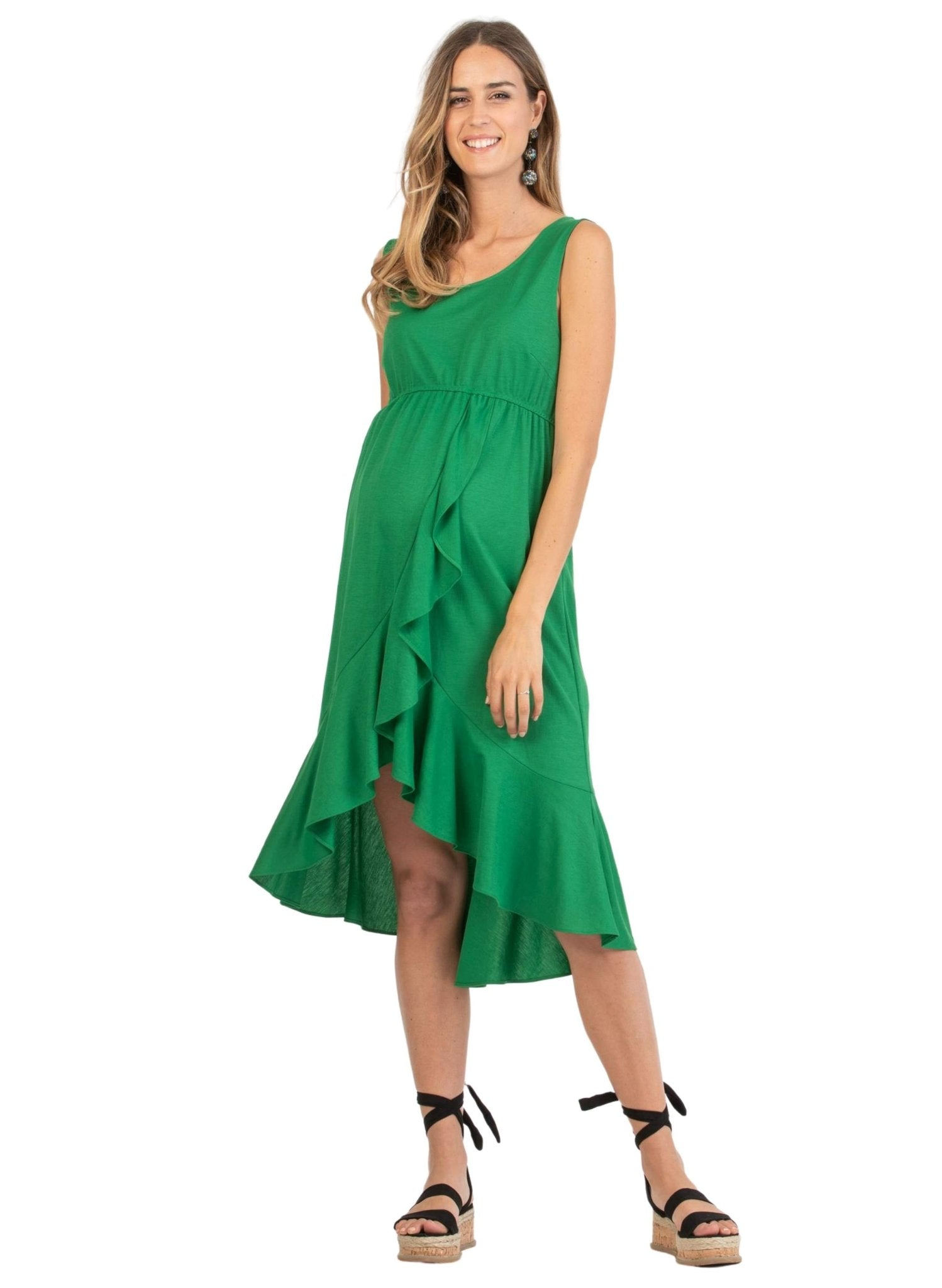 Asymmetric Maternity Dress - Green - Mums and Bumps