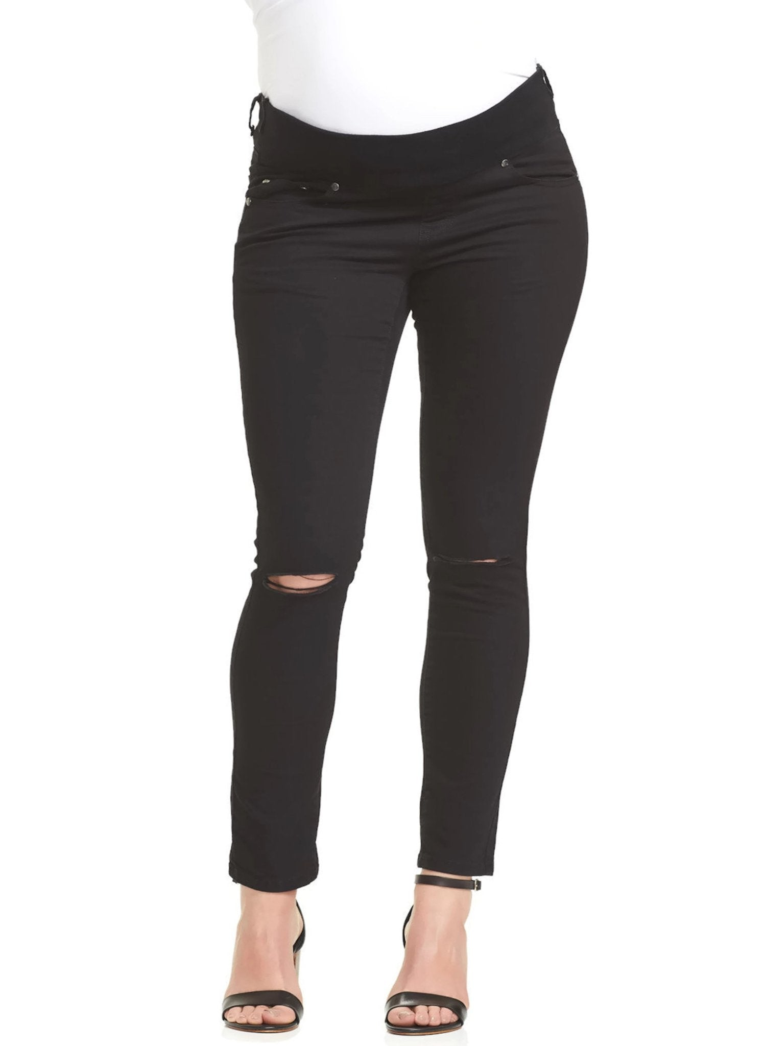 Base Distressed Maternity Denim - Black - Mums and Bumps
