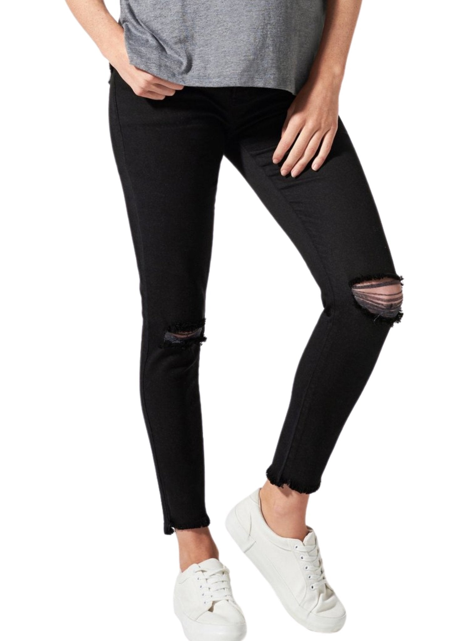 BLANQI Maternity Belly Support Skinny Jeans - Black Wash - Mums and Bumps