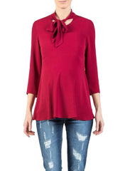 Bow Neck Maternity Shirt - Red - Mums and Bumps
