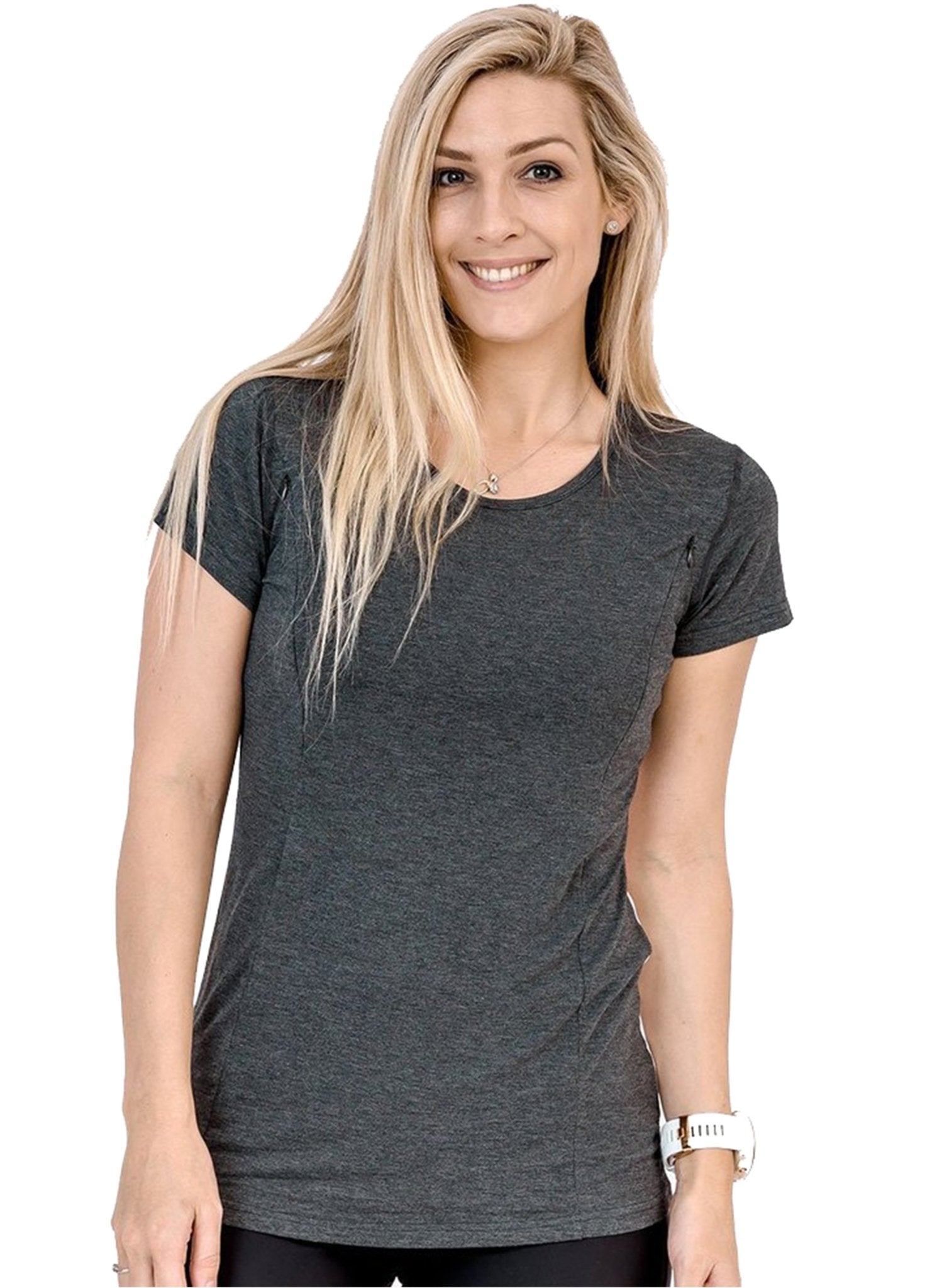Breastfeeding Bamboo T-Shirt - Workout Tee Dark Grey - Mums and Bumps