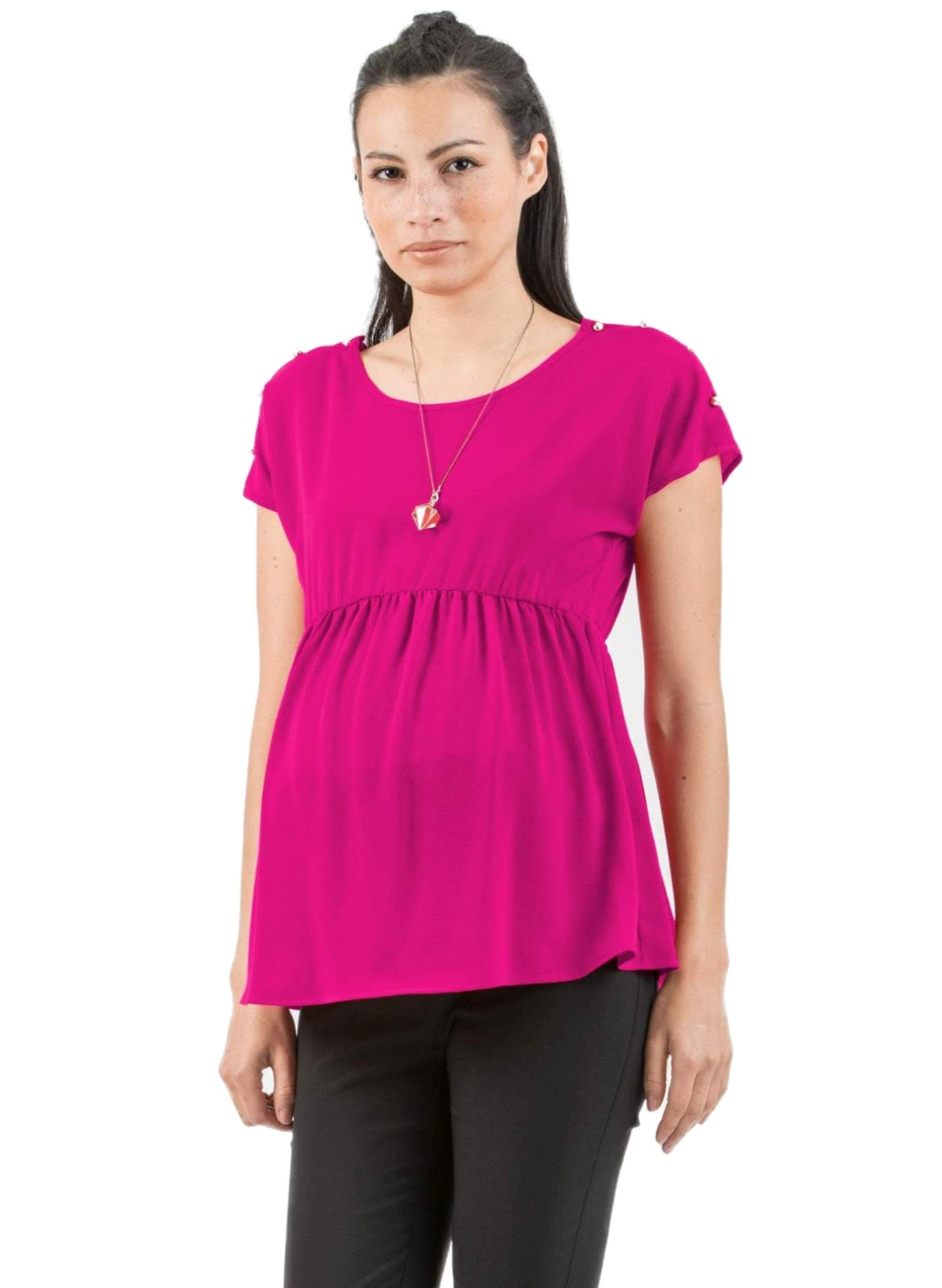 Buttoned Maternity & Nursing Top - Pink - Mums and Bumps