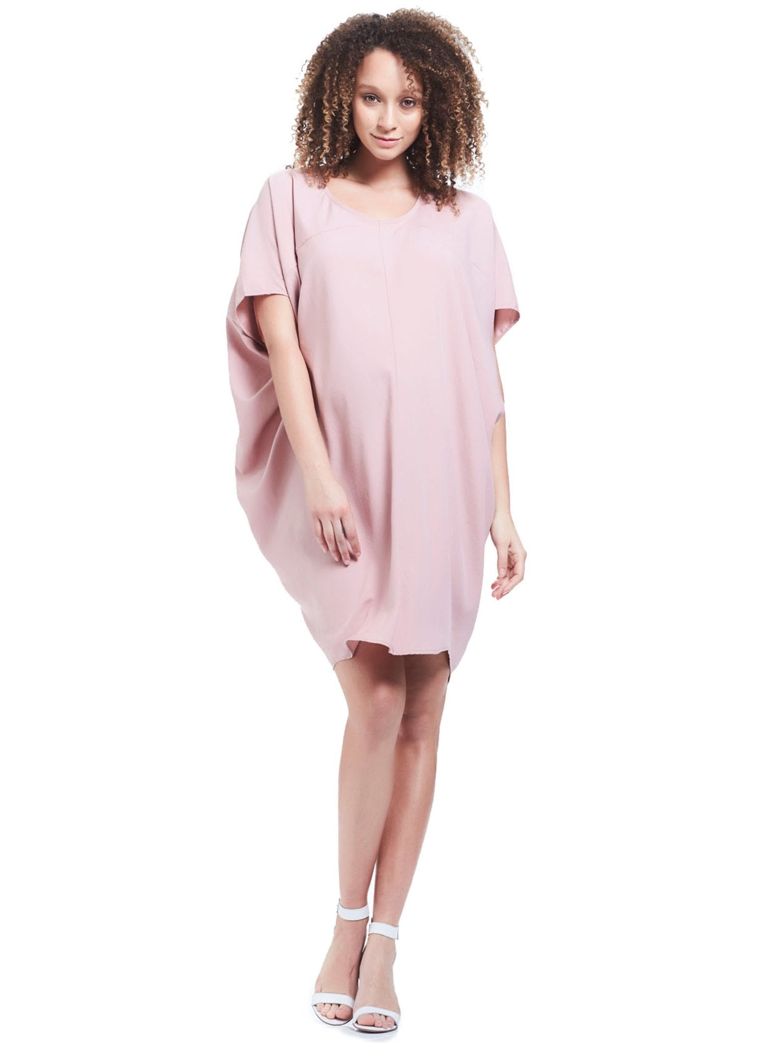 Cara Drape Maternity Dress - Pink - Mums and Bumps
