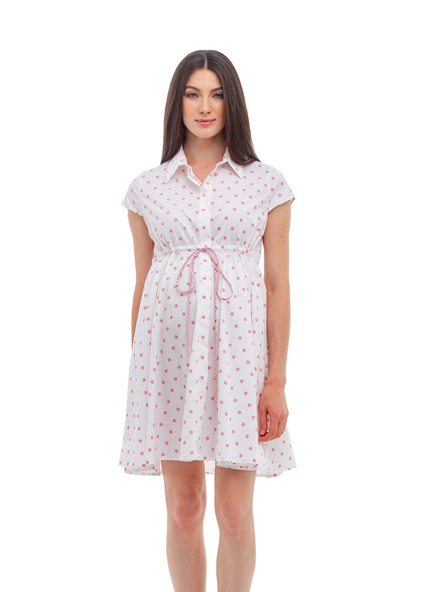 Ciclamino Maternity Dress - Red Ship Wheel - Mums and Bumps