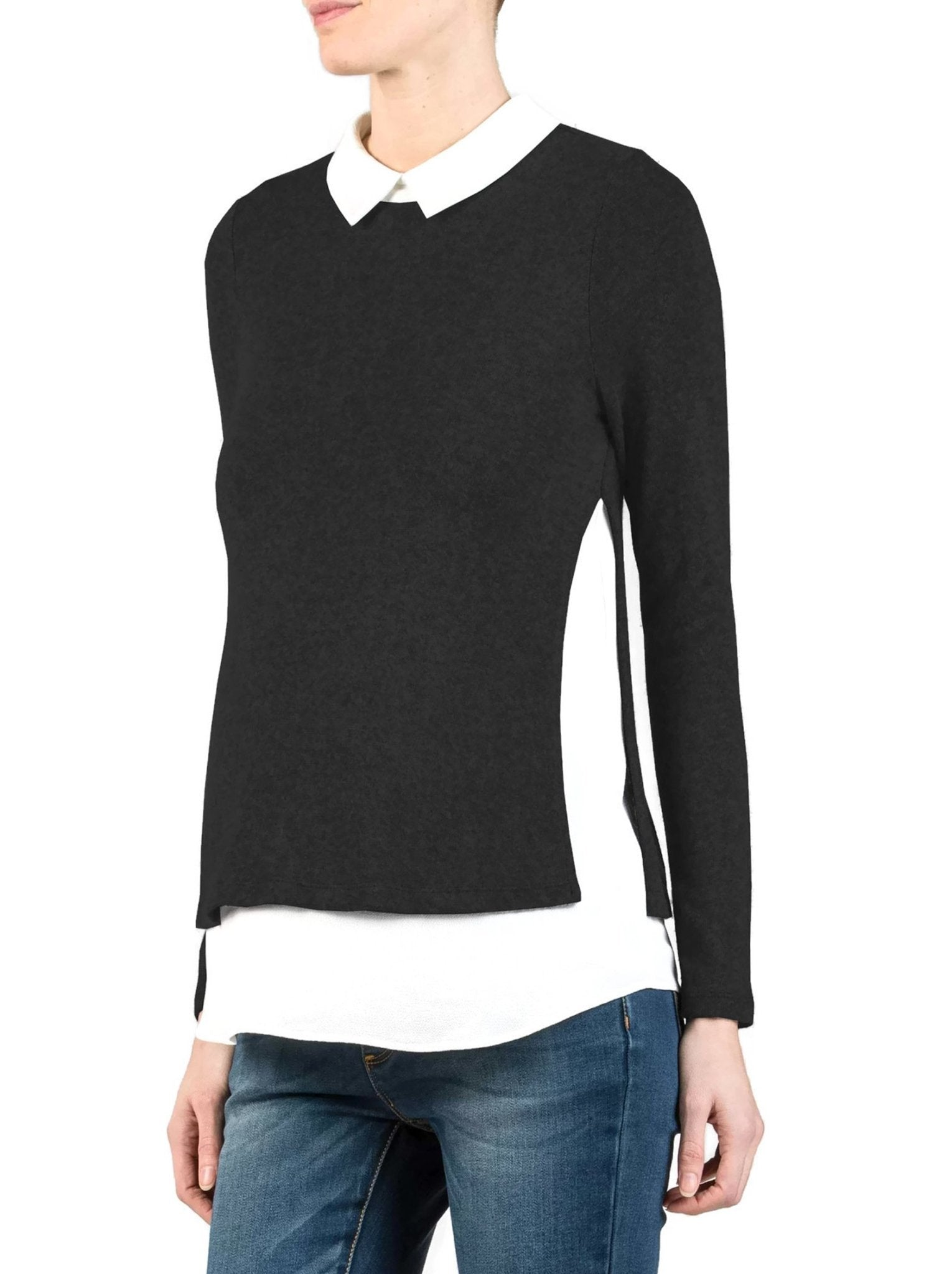 Collared Maternity Sweater Shirt - Black - Mums and Bumps