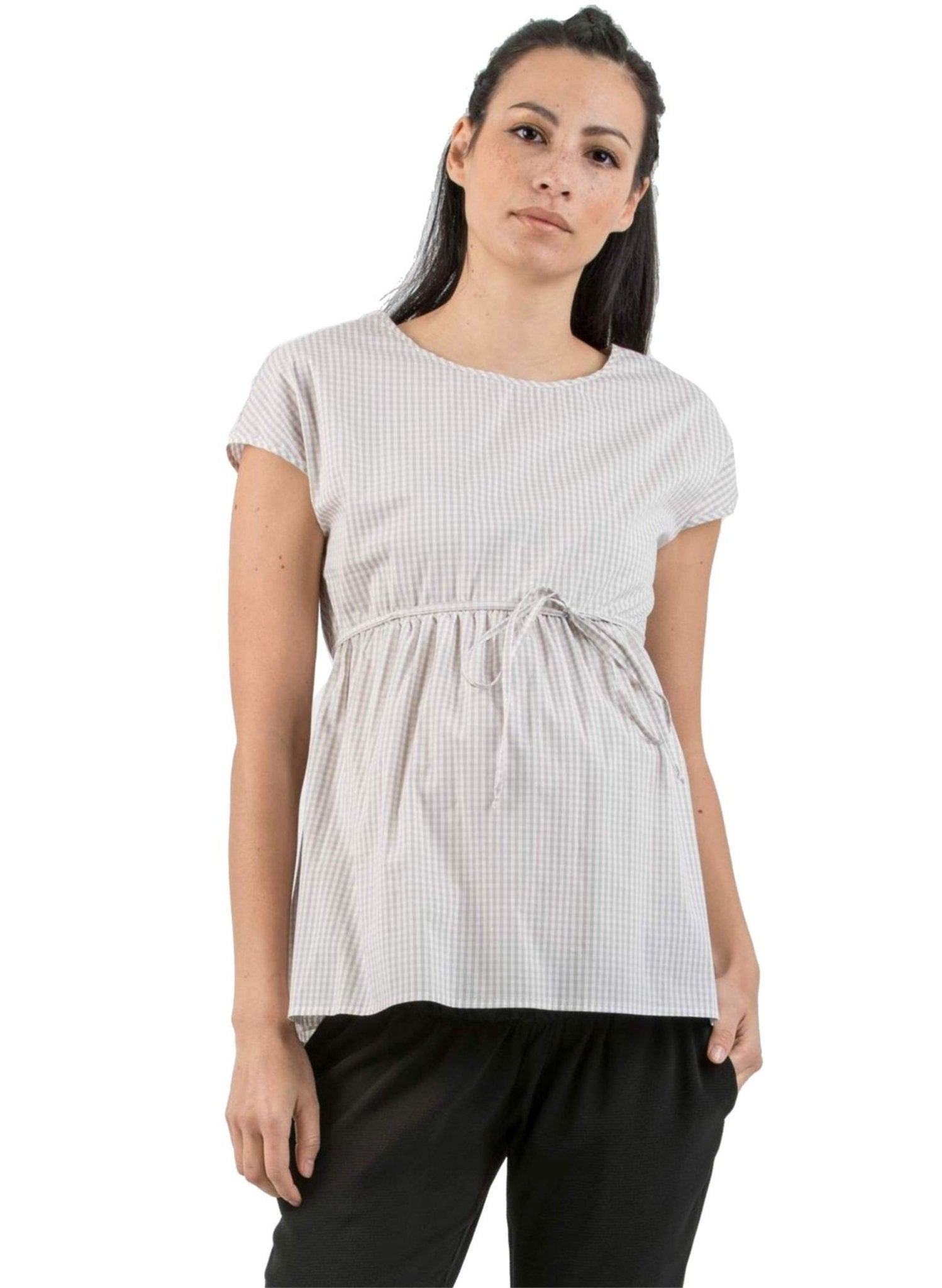 Cotton Maternity Top with Side String - Beige - Mums and Bumps