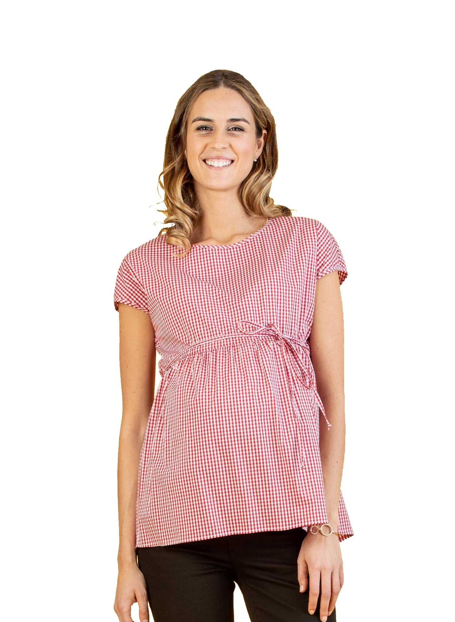 Cotton Maternity Top with Side String - Red - Mums and Bumps