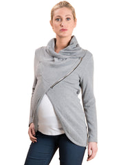Cross Zip Cardigan - Grey - Mums and Bumps