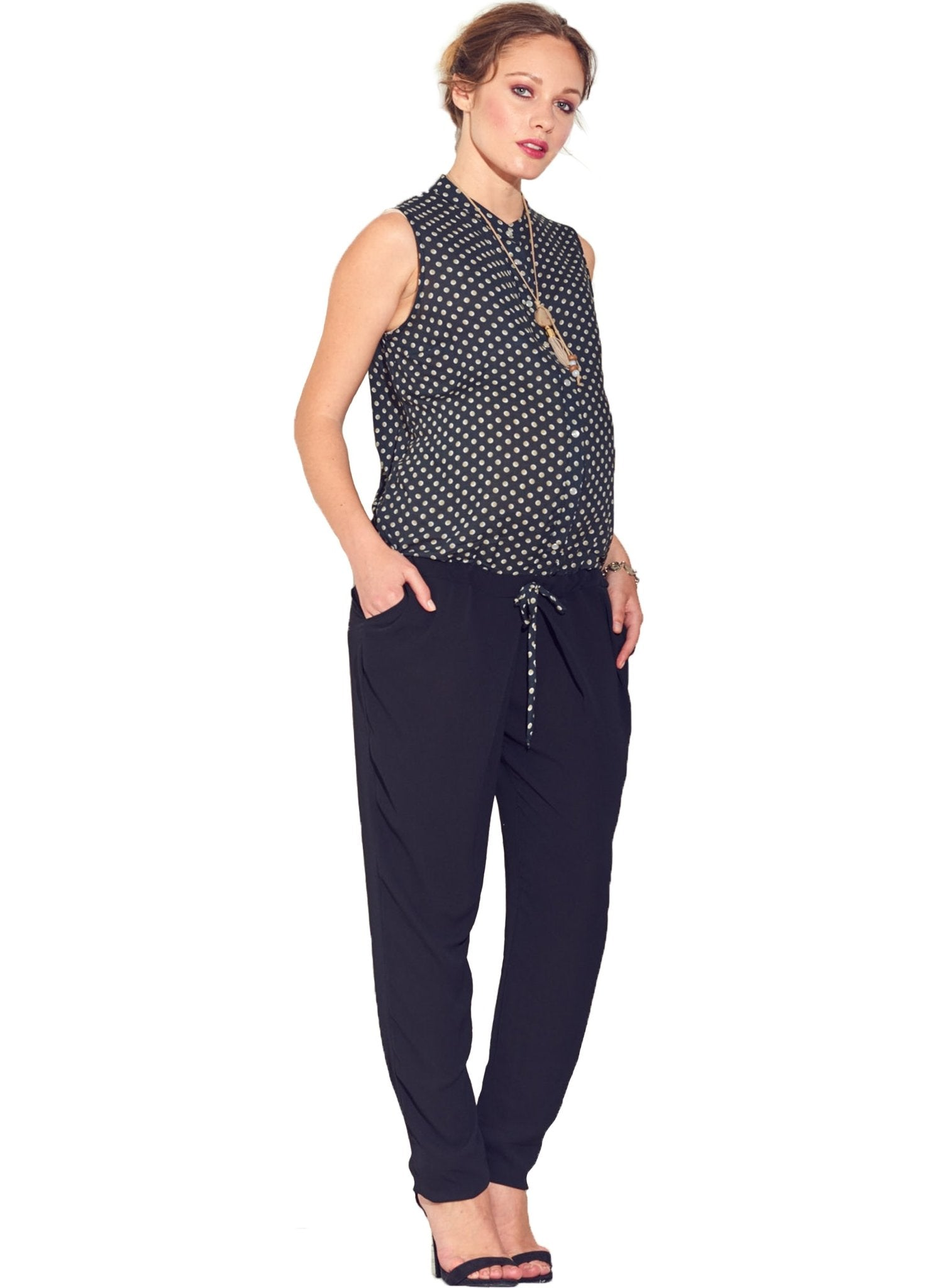 Dotted Sleeveless Maternity Jumpsuit - Mums and Bumps