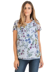Double Layer Maternity T-Shirt with Floral Print - Mums and Bumps