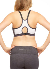 Energy Maternity Sports Bra Top - Grey/White - Mums and Bumps