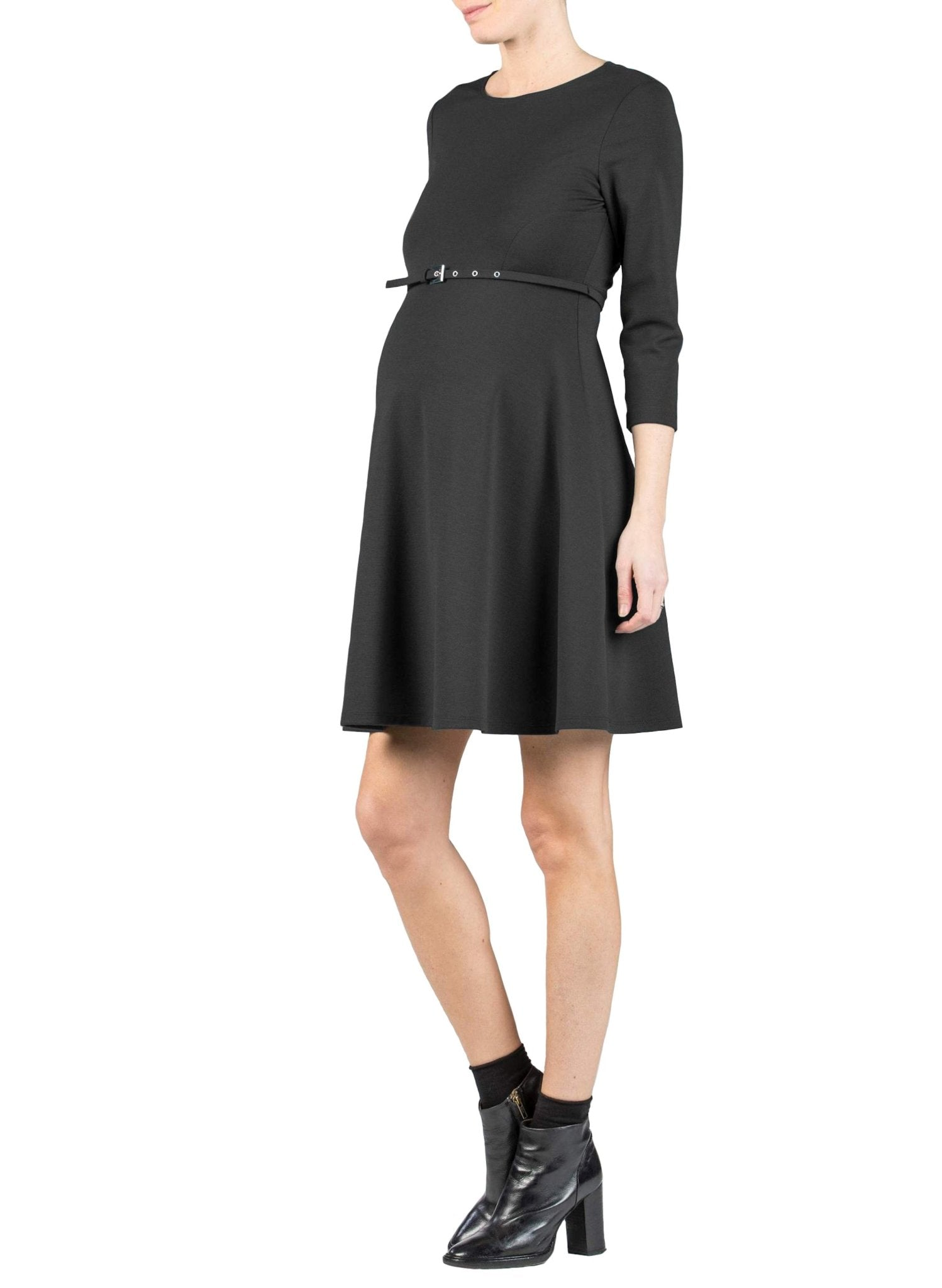 Flared Maternity Dress with Belt - Black - Mums and Bumps