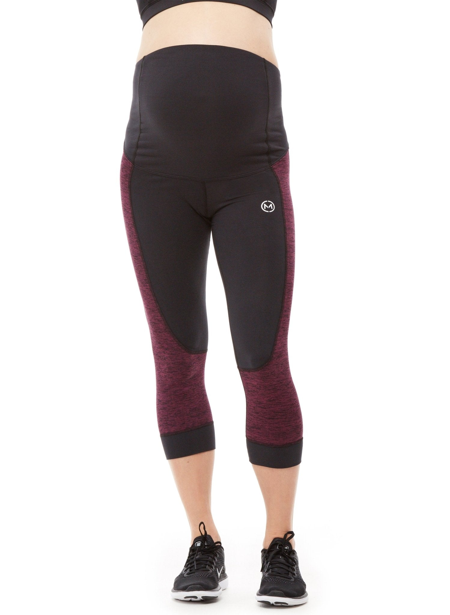 Flex 3/4 High Waist Maternity Legging - Black/Raisin - Mums and Bumps