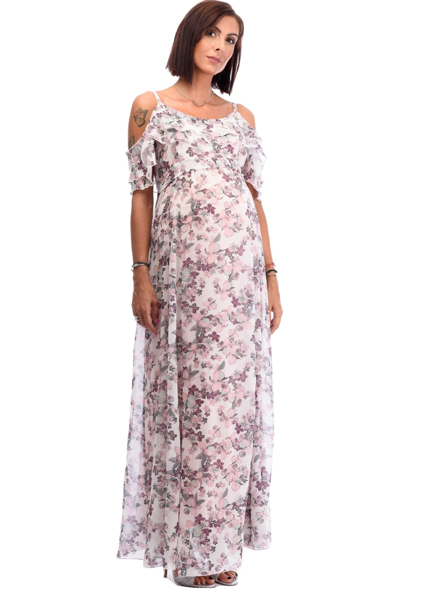 Floral Printed Maternity Long Dress - Mums and Bumps